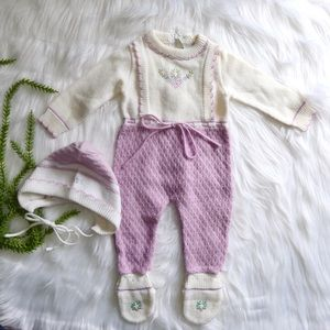 Baby Togs one piece knit outfit with bonnet